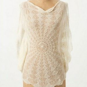 ANTHROPOLOGIE- Far Away From Close Crochet Top - M
